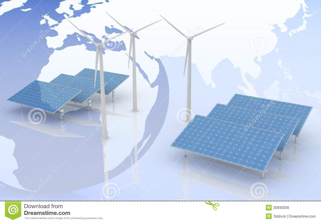 Windmill And Solar Panels On World Map Background Stock Illustration
