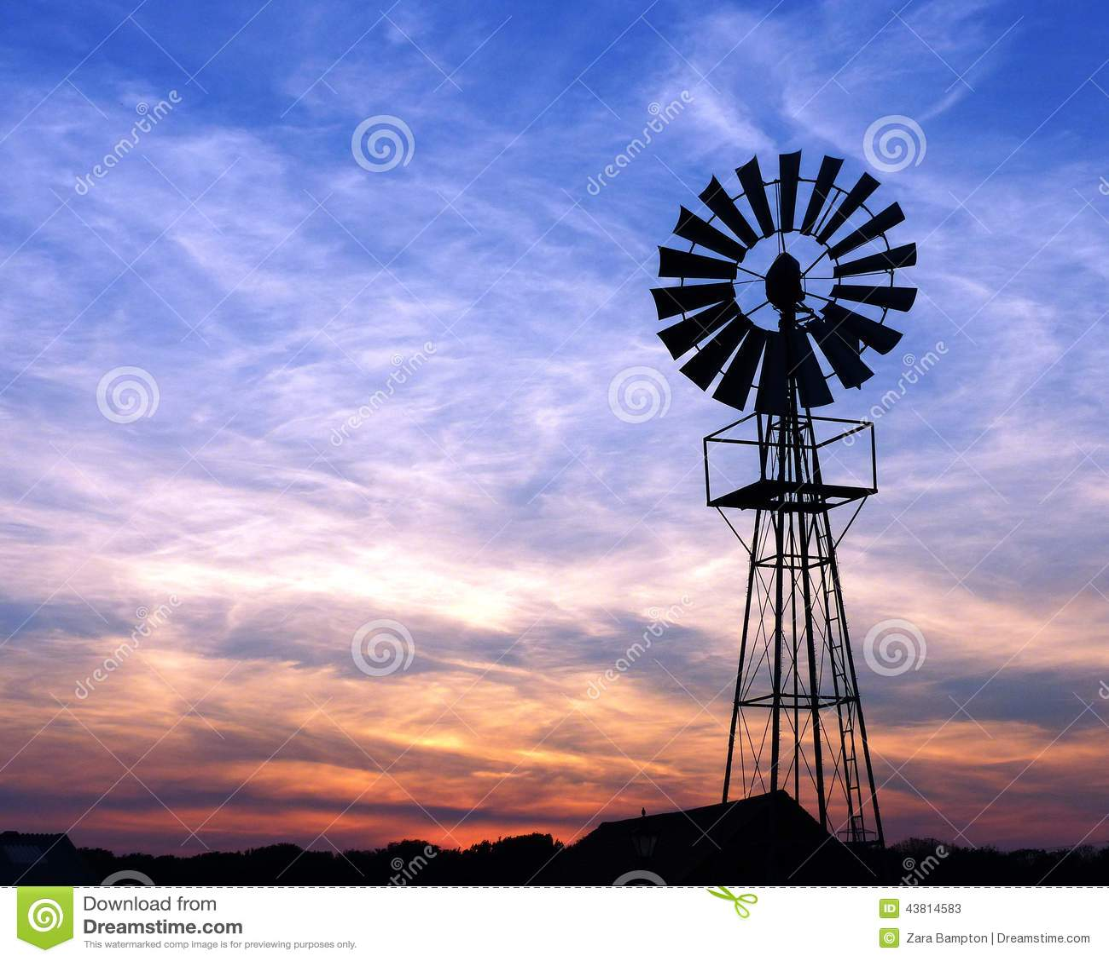 Windmill At Sunset Stock Photo - Image: 43814583