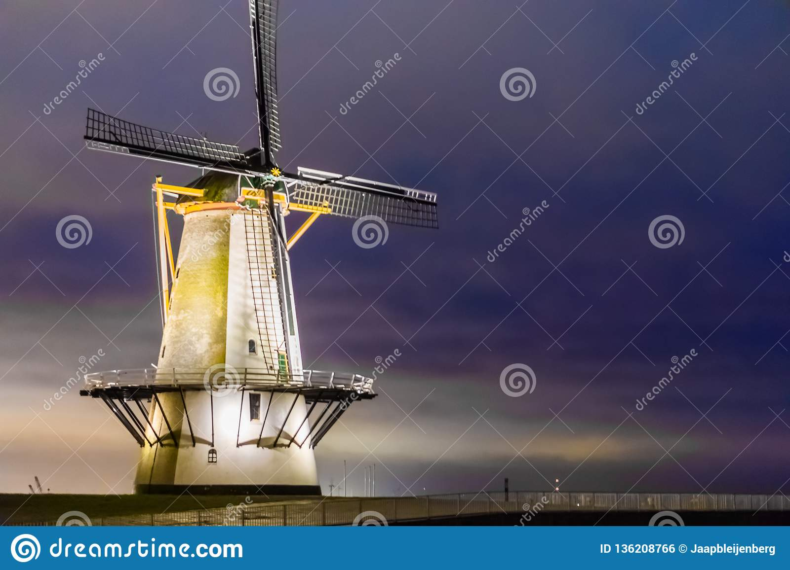 The windmill of Vlissingen by night, typical dutch scenery, historic buildings, Zeeland, the Netherlands
