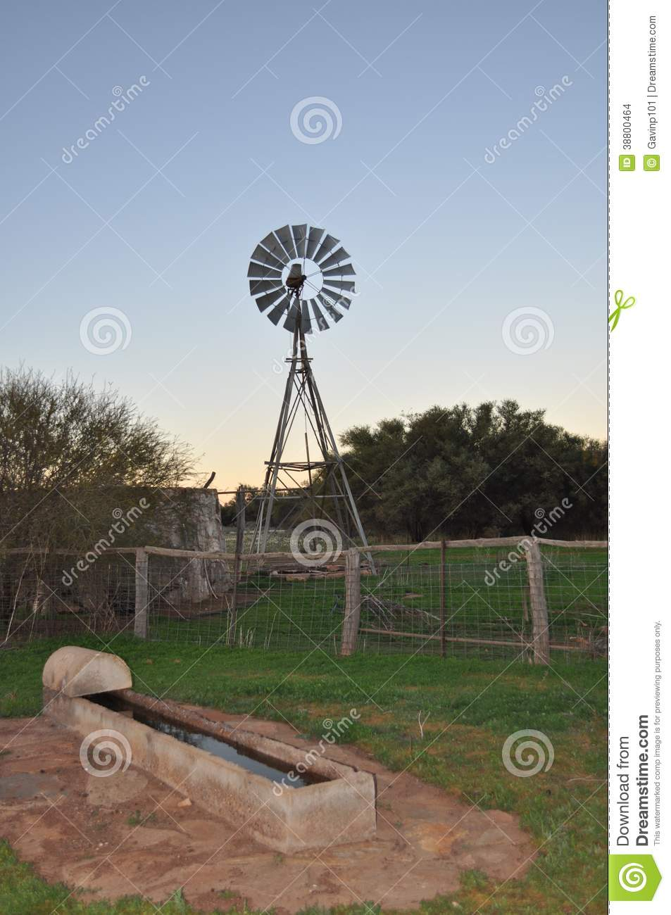 Windmill with water trough in stockyard paddock at sunset on farm ...