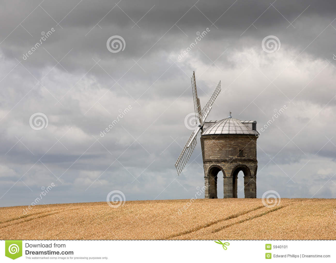 Windmill In A Wheat Field Stock Image - Image: 5940101