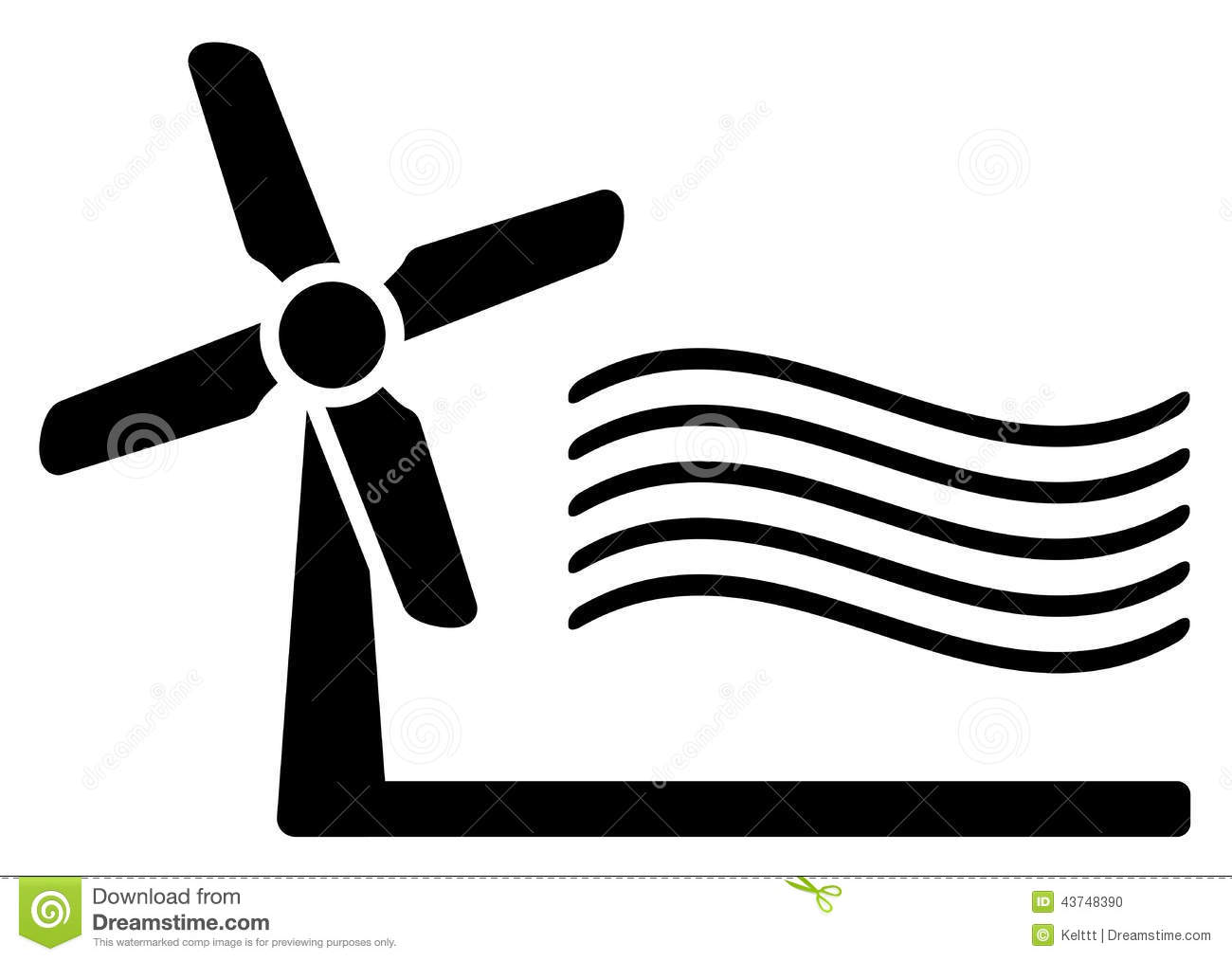 Windmill And Wind Symbol Stock Vector - Image: 43748390