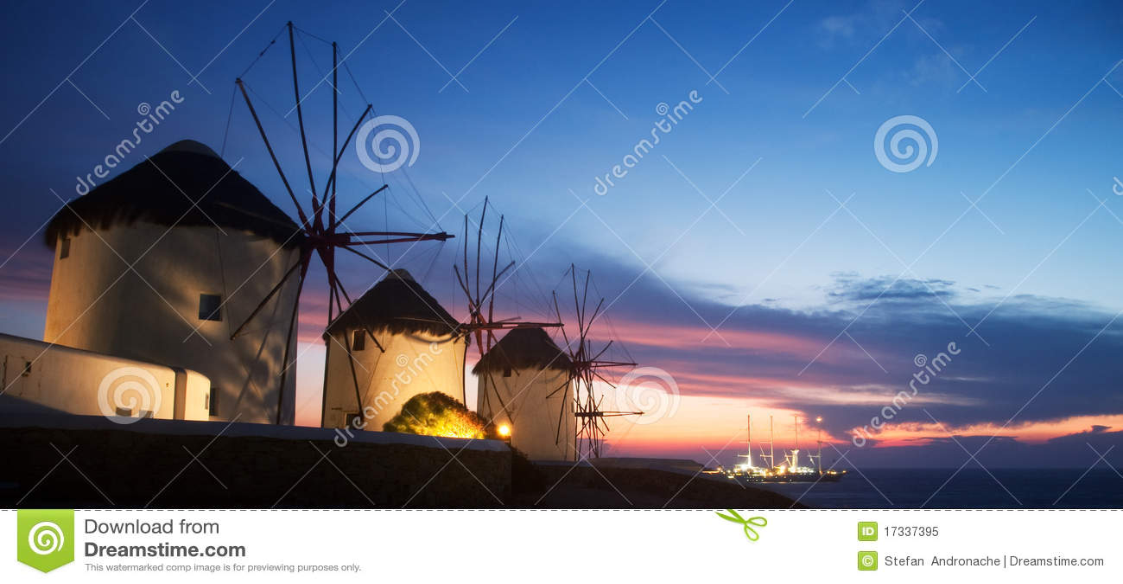 Windmills on the island of Mykonos (Greece)