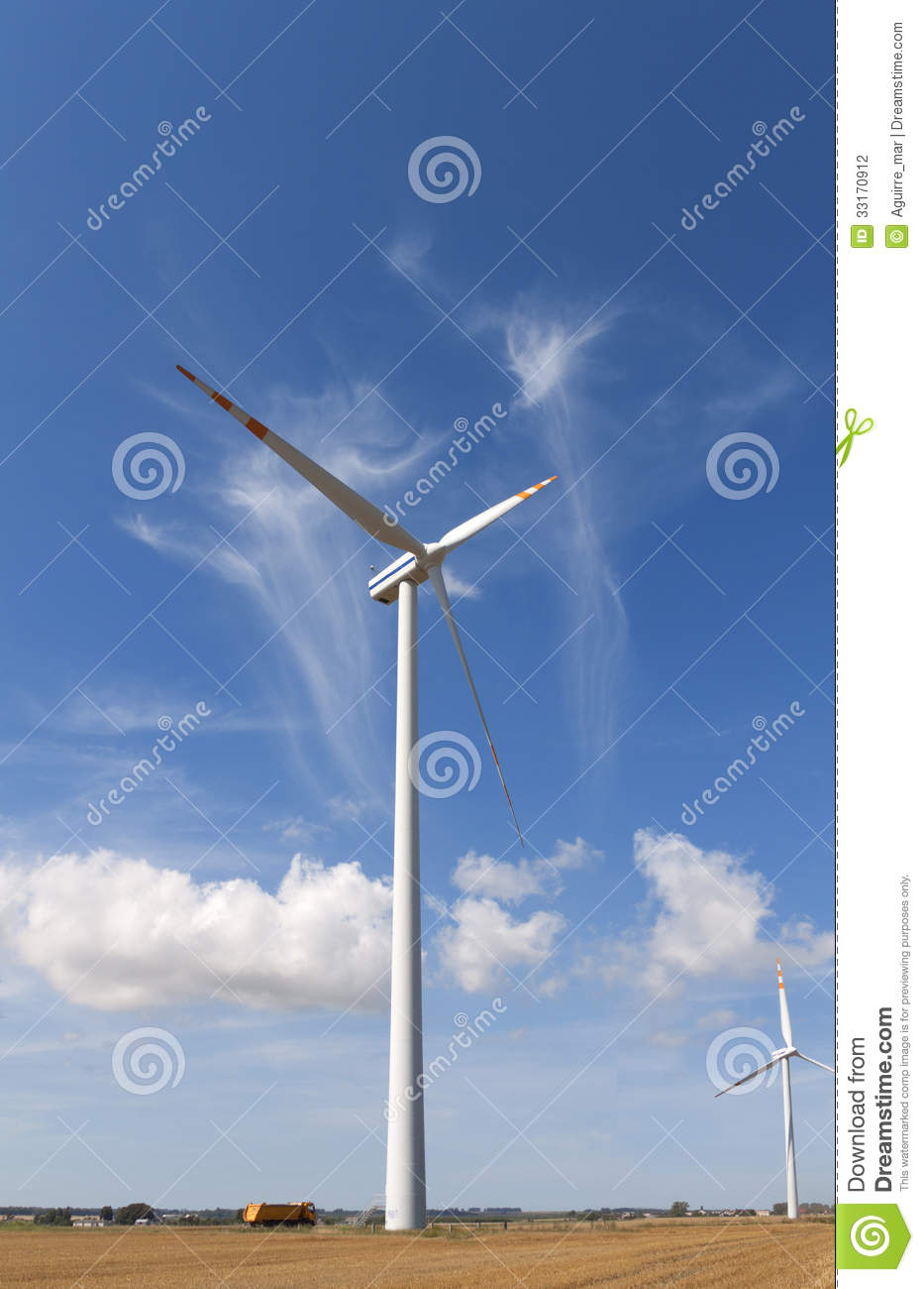 Windmills for renewable electric energy production.