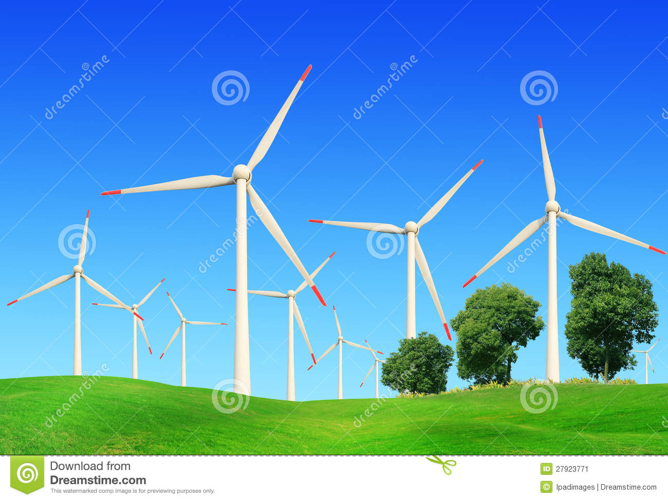 Windmills In Summer Landscape Stock Image - Image of