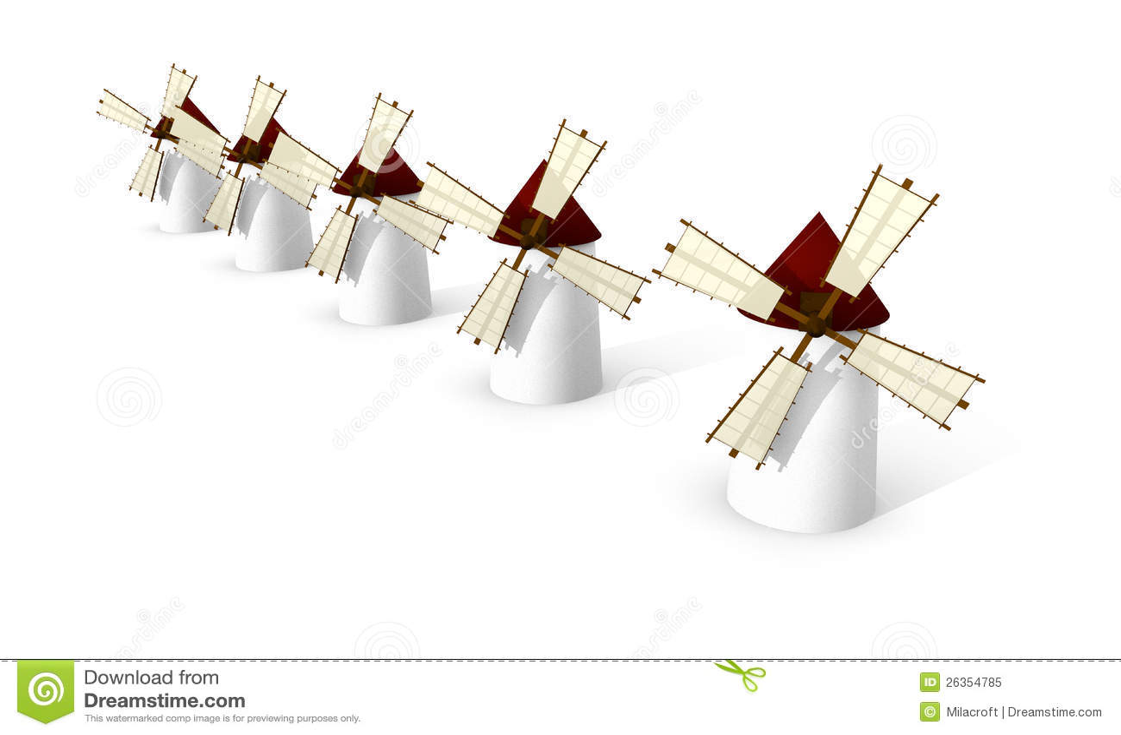 Windmills on white background