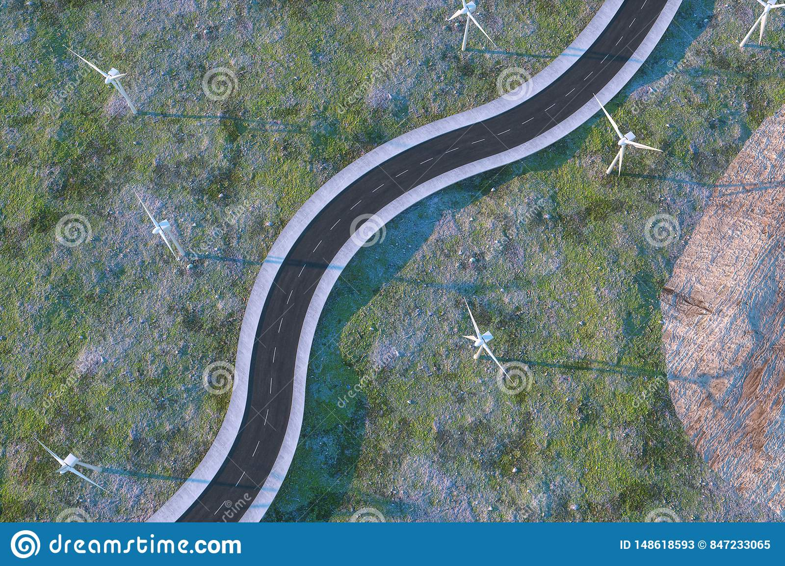 Windmills and winding road in the open, 3d rendering
