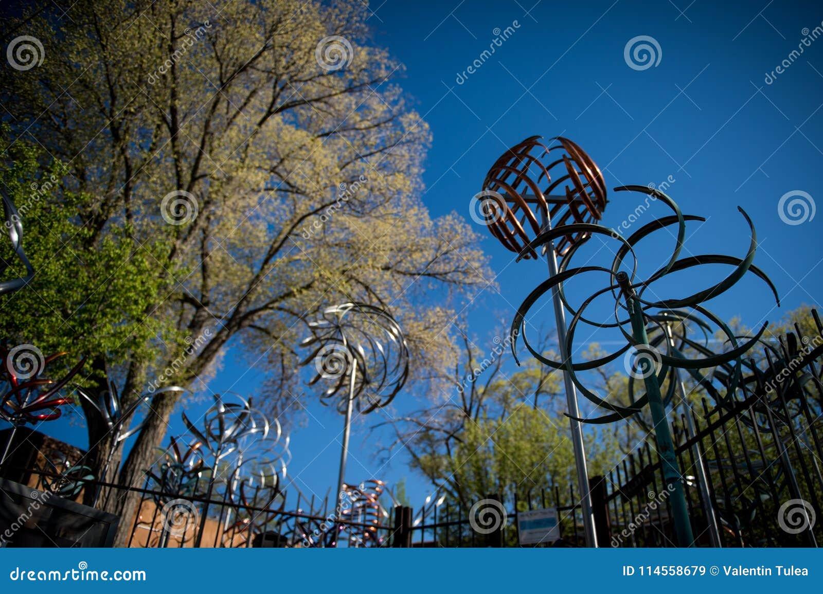 Windmolens Kunststuk Canionweg in Santa Fe, New Mexico