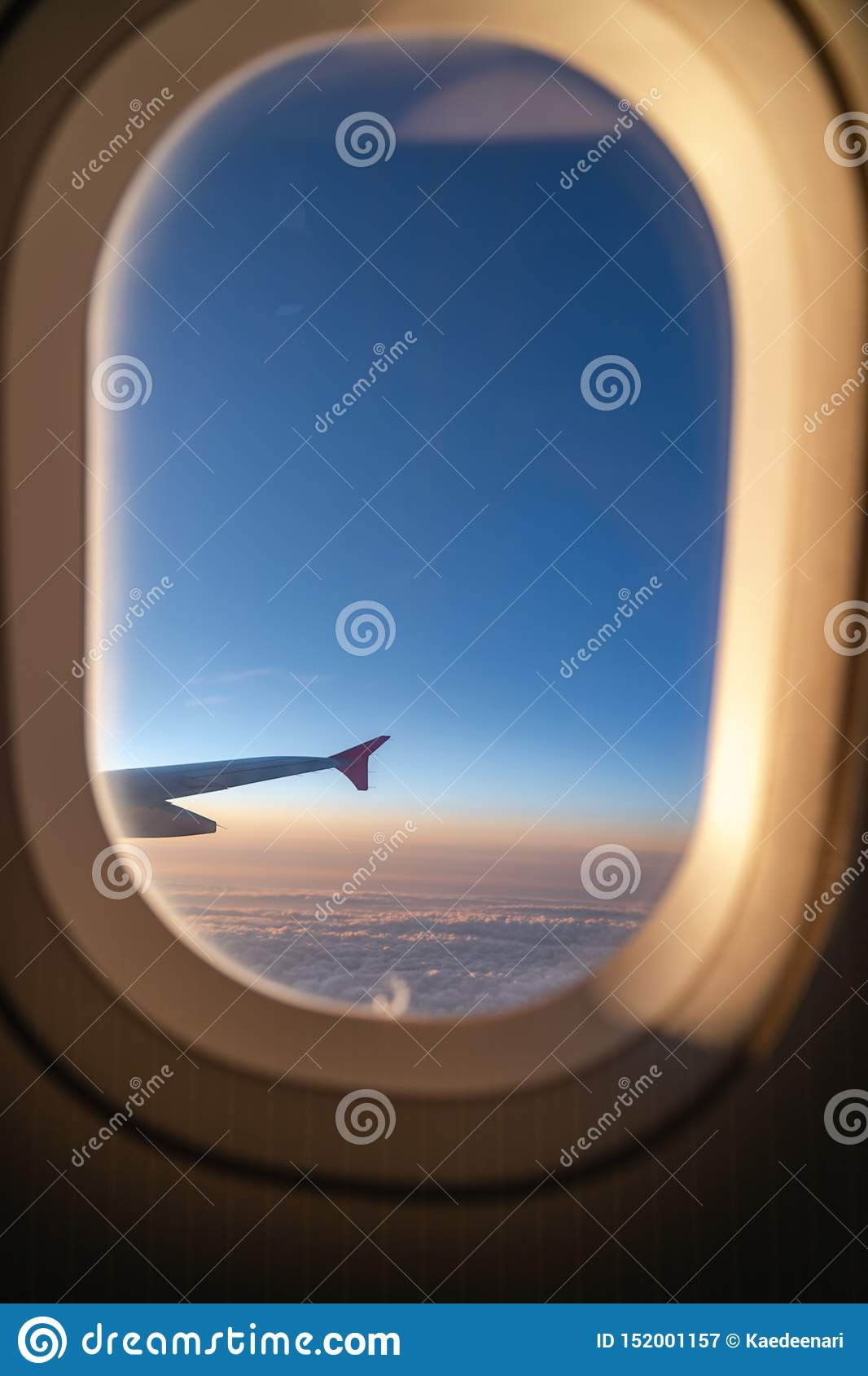 The window of the airplane. A view of porthole window on board an airbus for your travel concept
