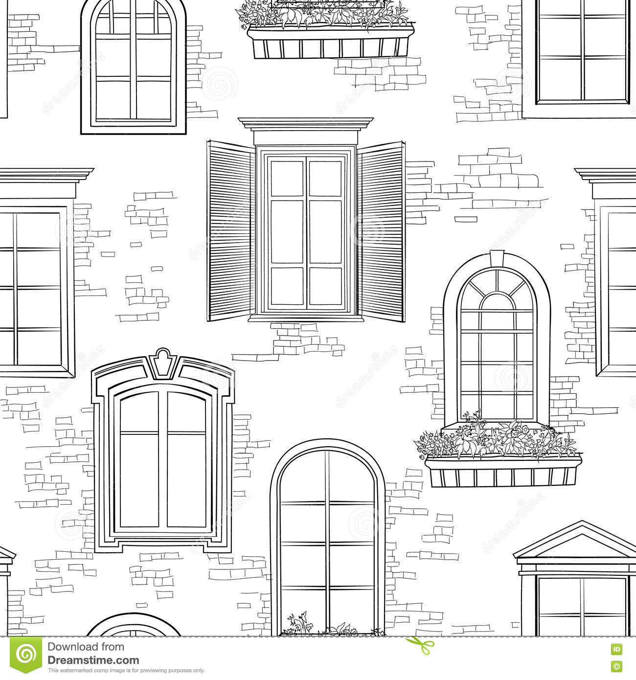 Window On ncient Brick Wall Pattern. rchitectural Style Windows ... - ^