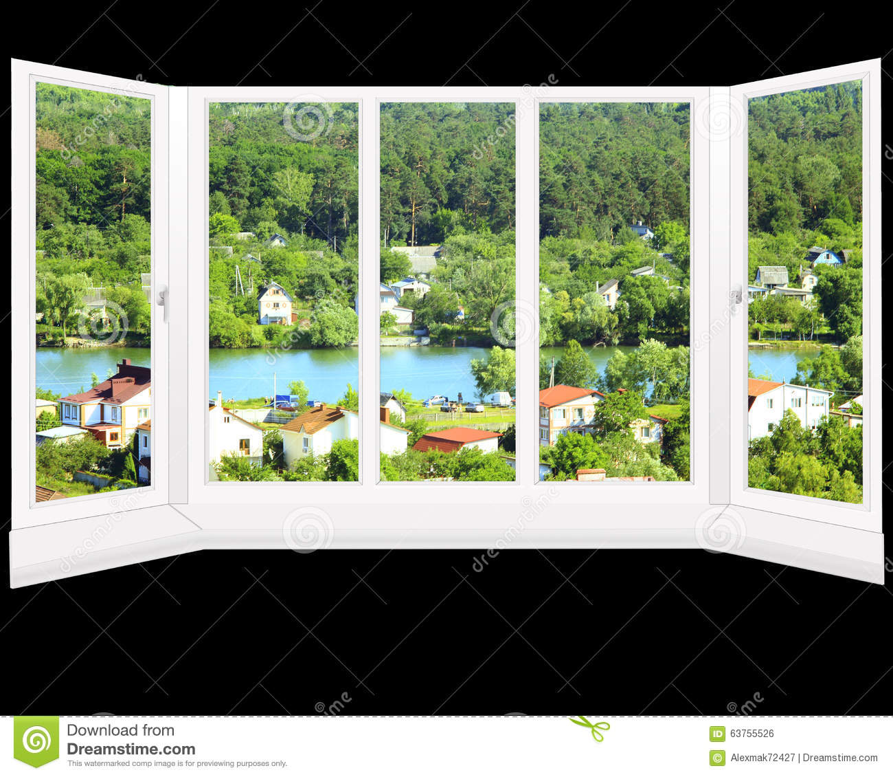 Summerlake Apartments: Window With Beautiful View To Country Houses And Lake