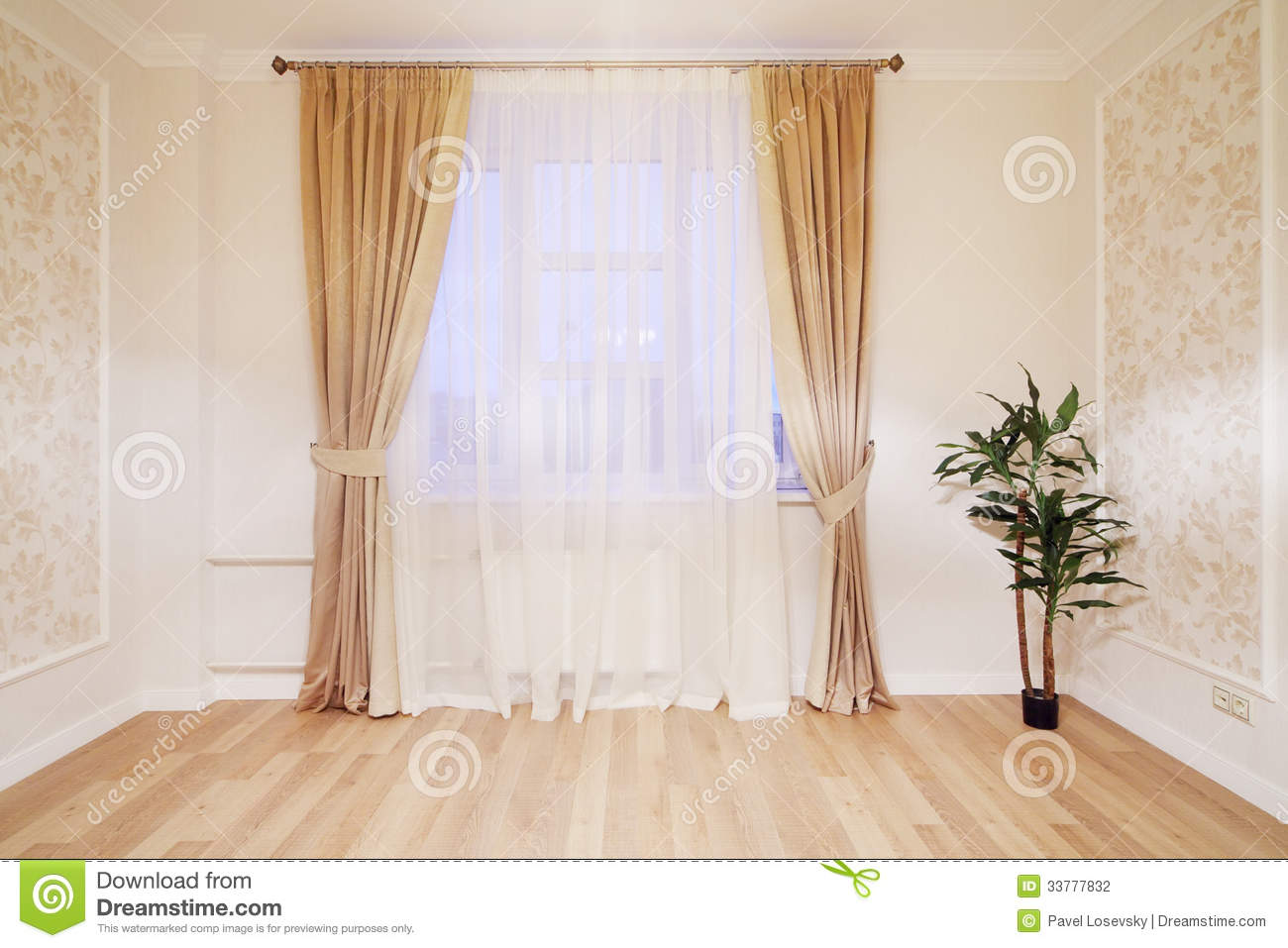 window with beige curtains in simple room stock