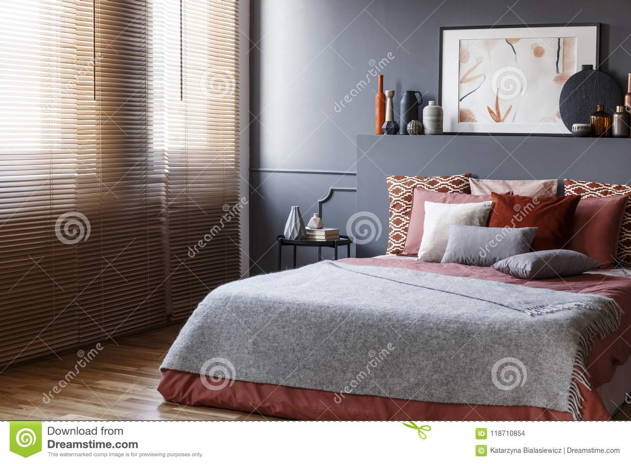 Window Blinds In A Bedroom Interior With A King Size Bed, Cushio