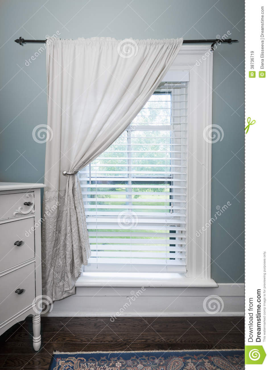 Window With Blinds And Curtain Stock Image Image 38736719