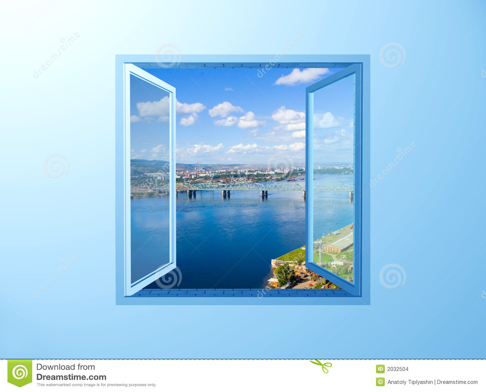 Window Blue Wall River