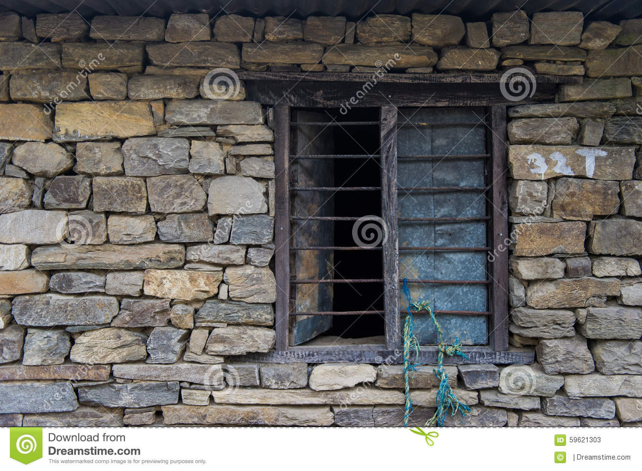 Window on brick stock photo image 59621303 for Window design in nepal