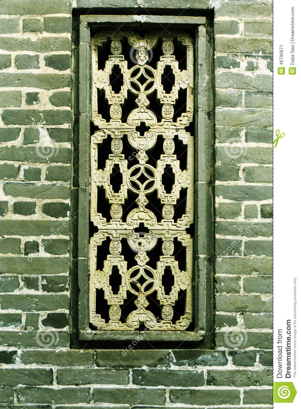 window on brick wall stock image image of chinese house. Black Bedroom Furniture Sets. Home Design Ideas