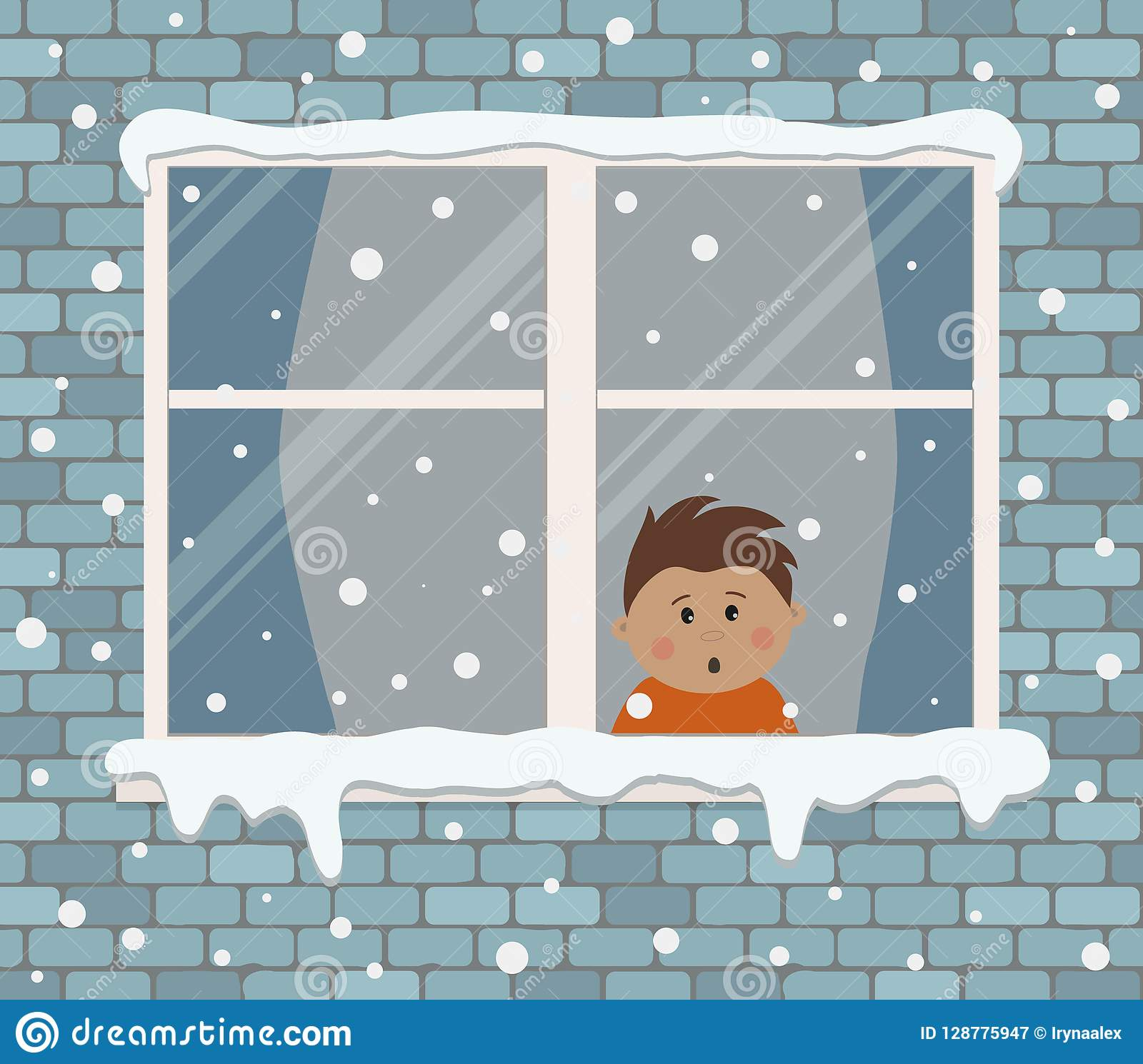 Window on a brick wall on a snowy day. A little boy in the room is surprised, looking at the snow