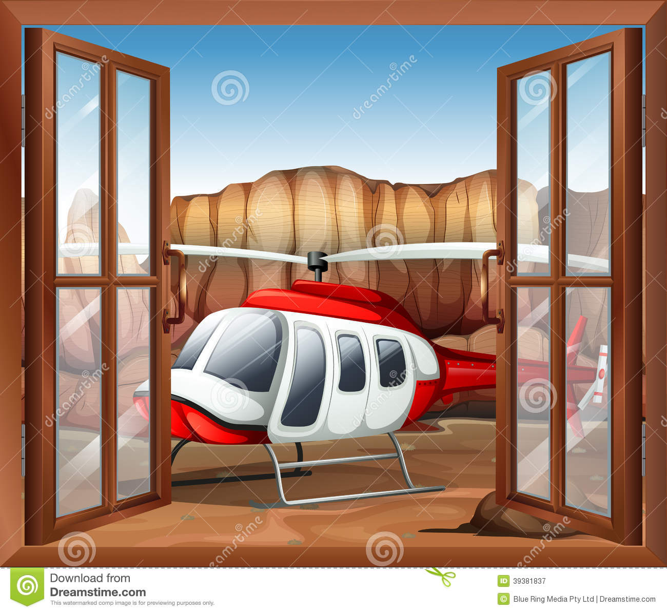A window with a chopper outside