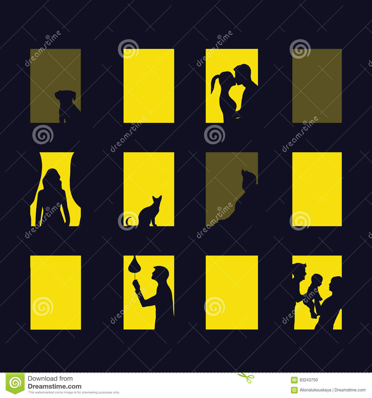 The Apartment People: Abstract Illustration Of Big City At Night. Cartoon Vector