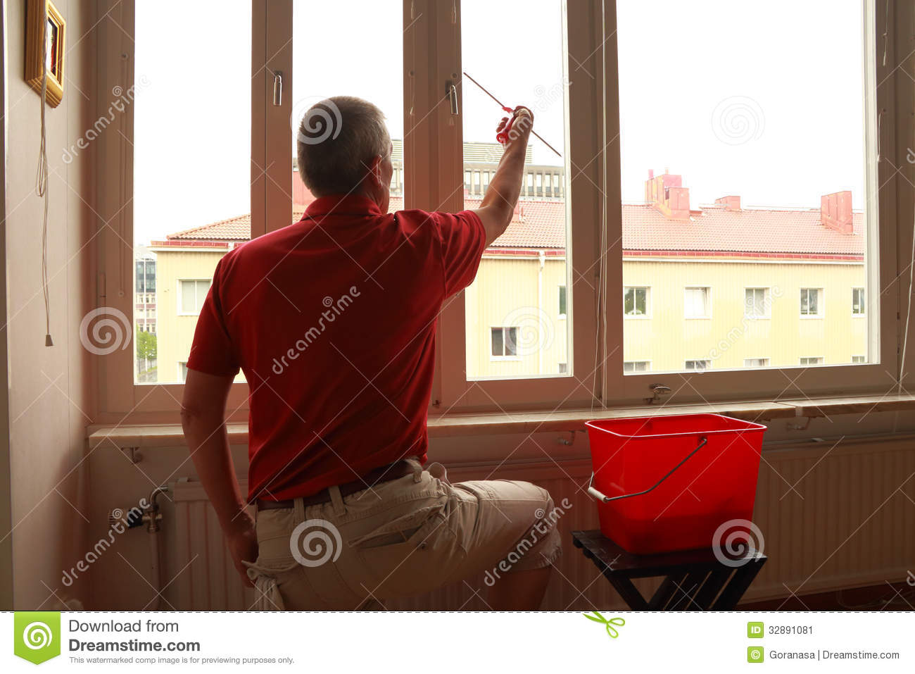 Window Cleaner In Action Stock Image Image Of Wall Clean