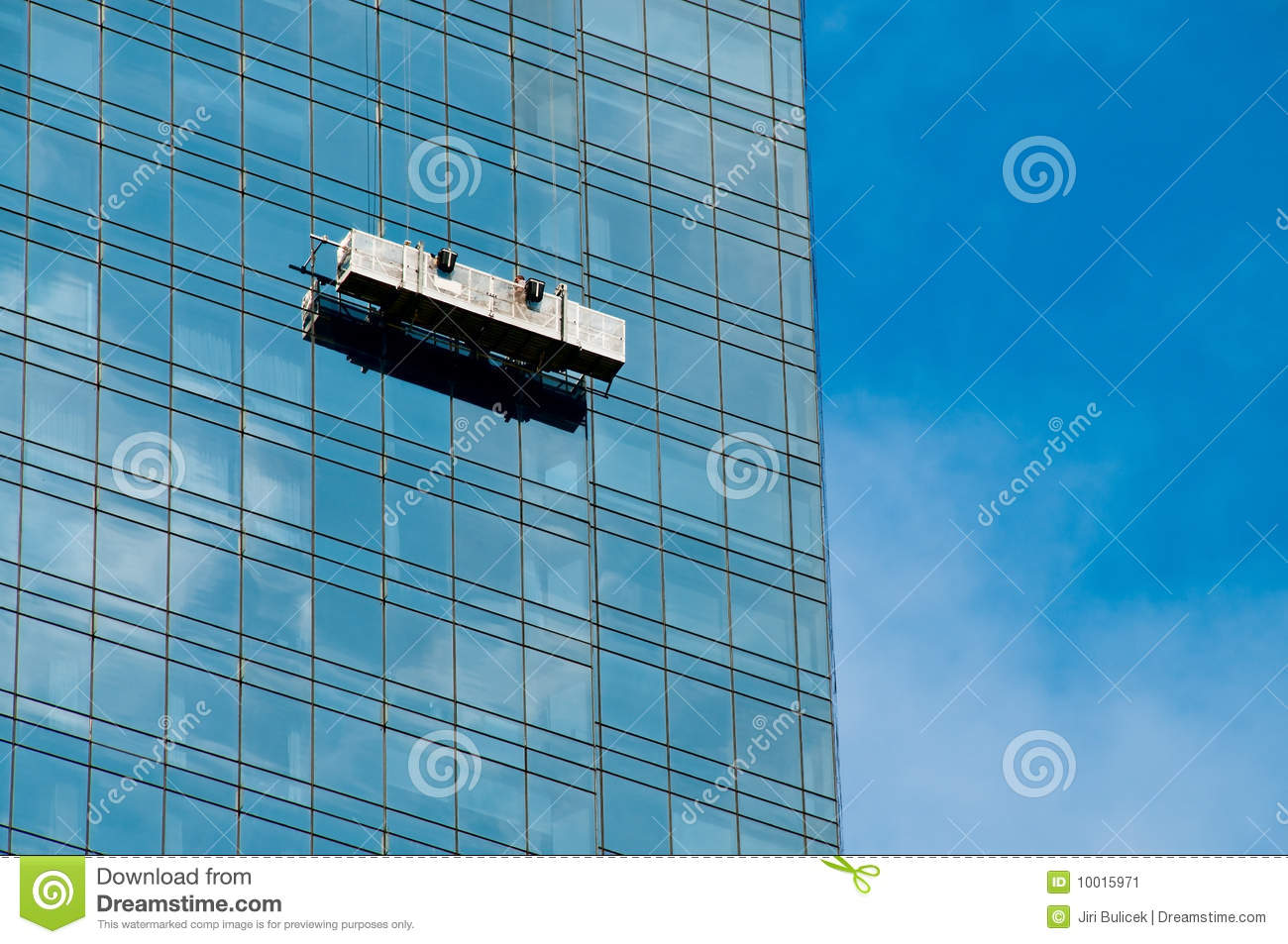 Window Cleaner In A Gondola Cleaning The Windows Stock