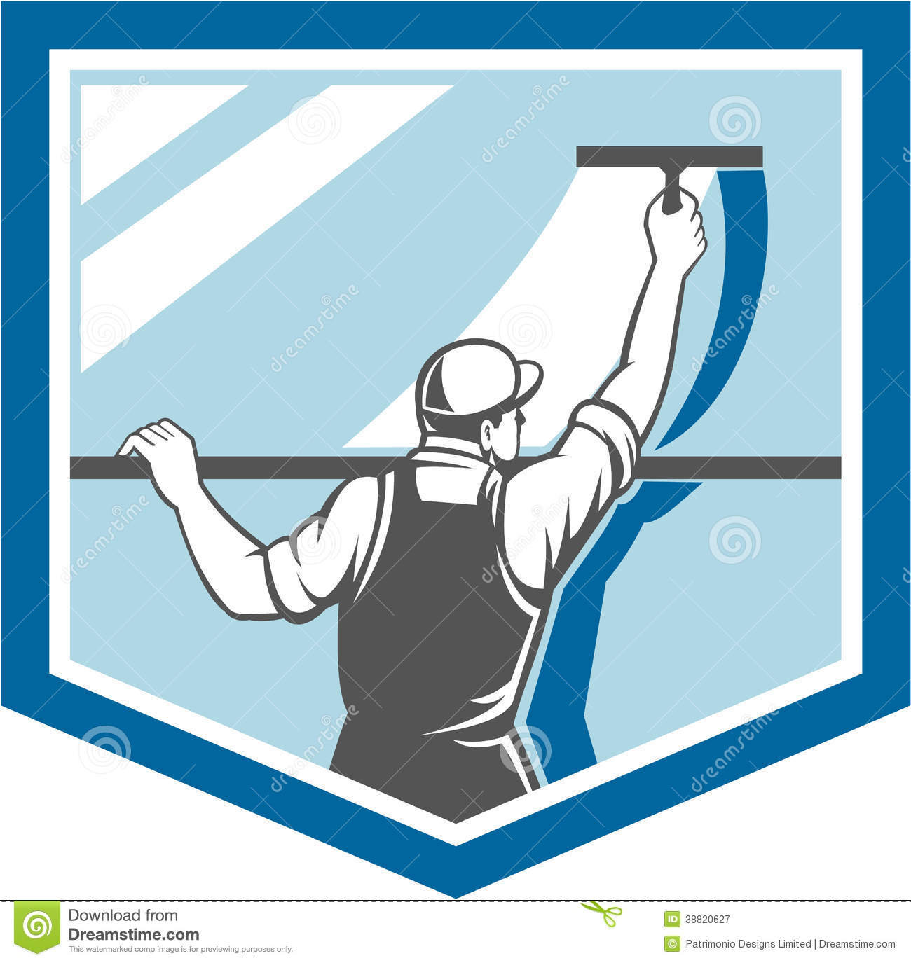 window cleaner washer worker shield retro royalty free stock photography
