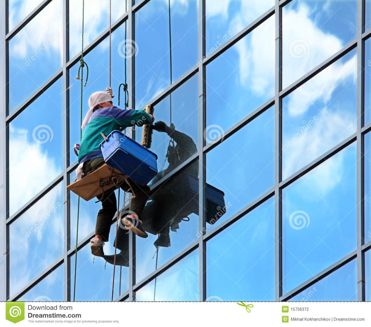 Window cleaner at work