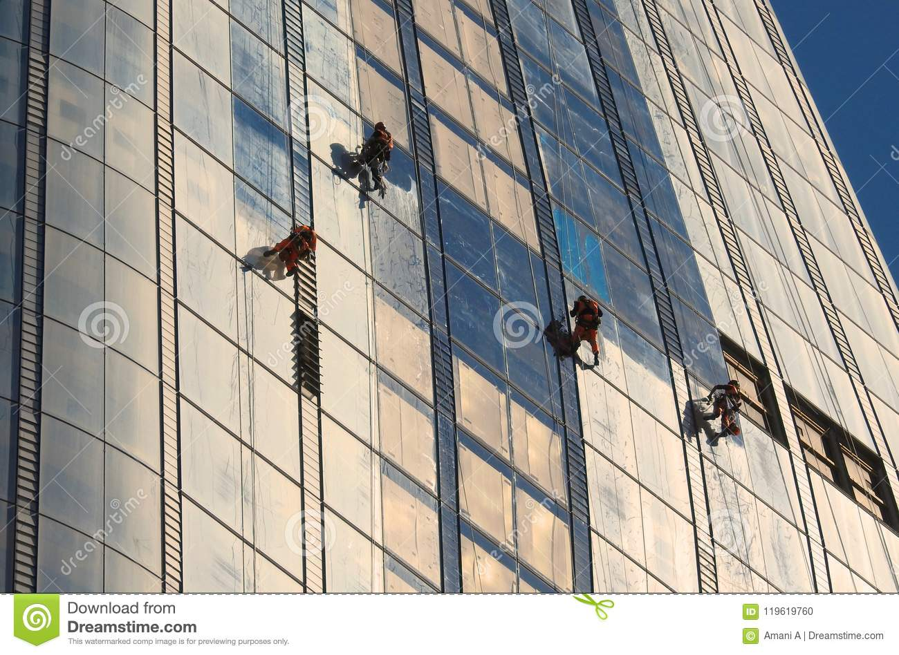 Window Cleaners Working on a new Skyscraper `The Vase` in Southwark London. June 2018
