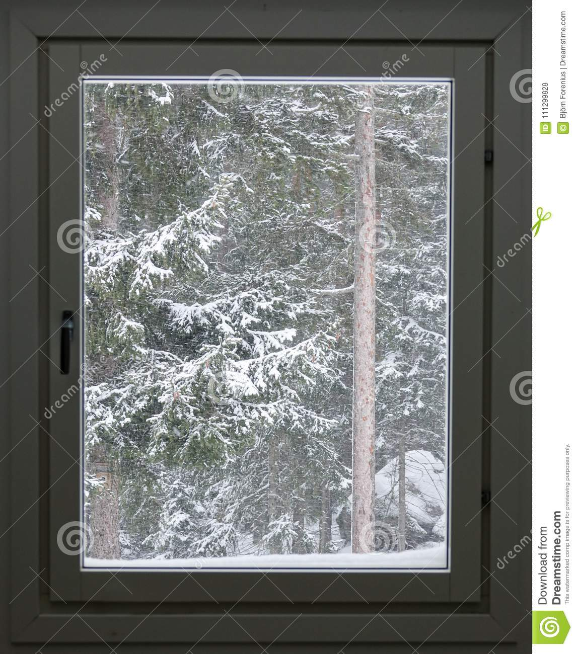 Window With A Snow Storm Outside And Snowy Trees Stock Photo