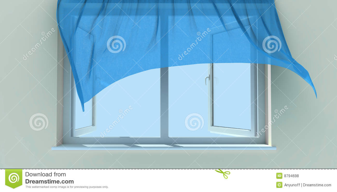 Open window with curtains blowing - Window And Curtain Royalty Free Stock Photos