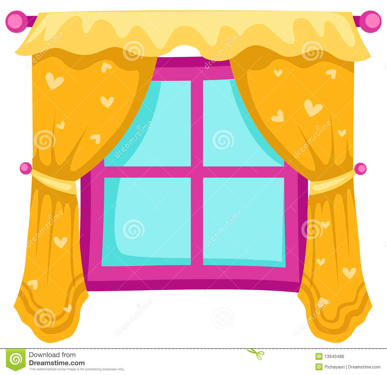 Window with curtains stock vector. Illustration of closed - 13640486 for Window With Curtains Drawing  67qdu
