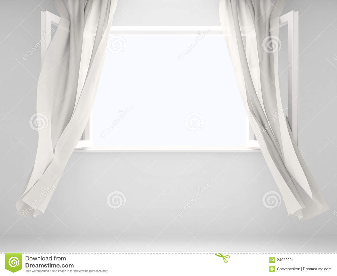 Open window with curtains blowing -