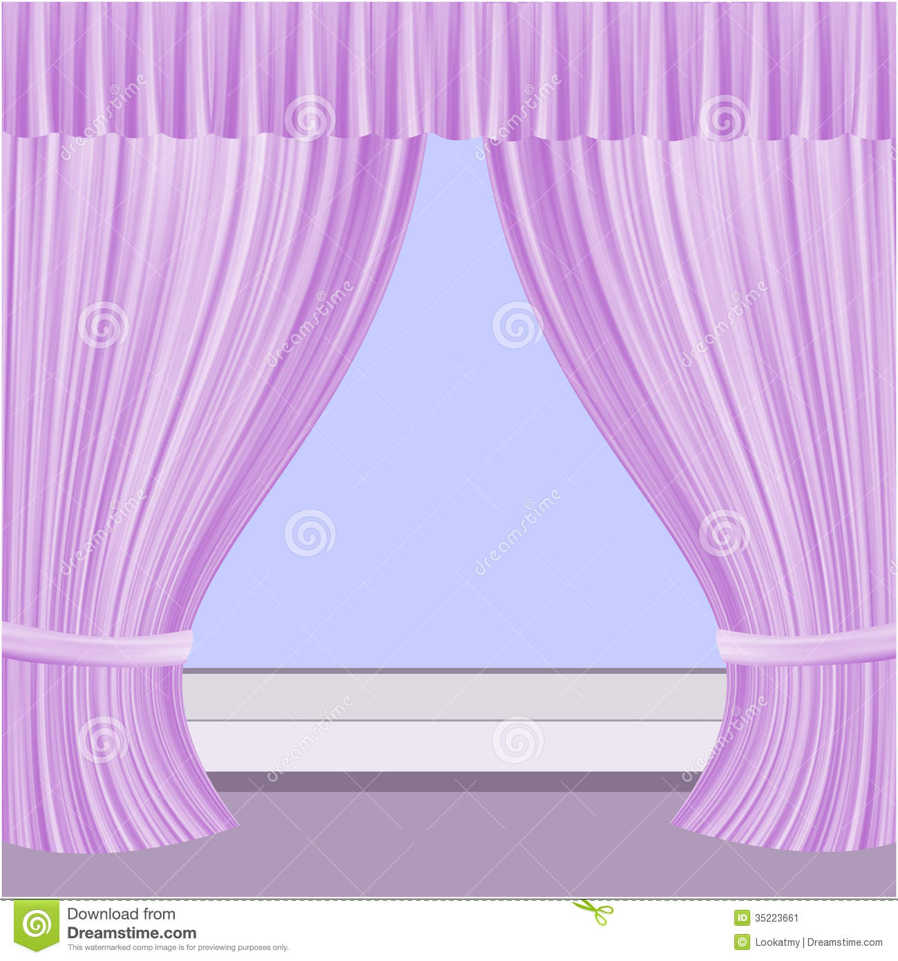 Window with curtains stock illustration. Image of lilac - 35223661 for Window With Curtains Illustration  150ifm