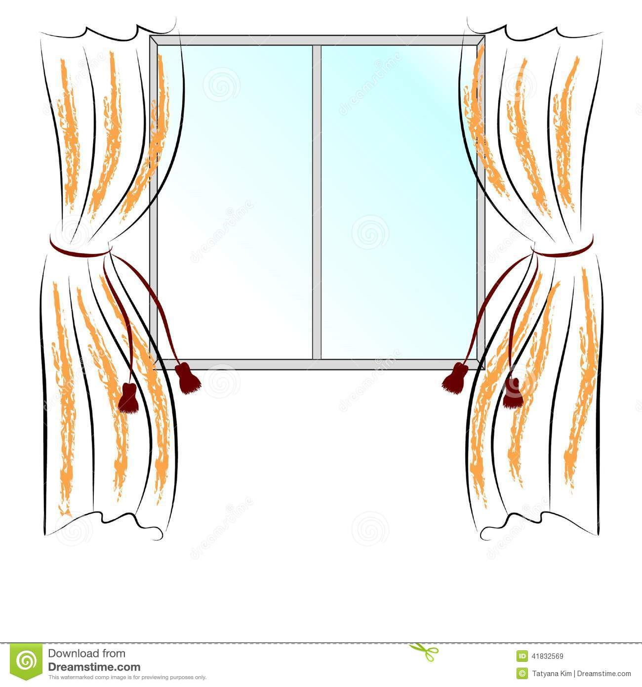 Simple vector drawing window and two curtains.