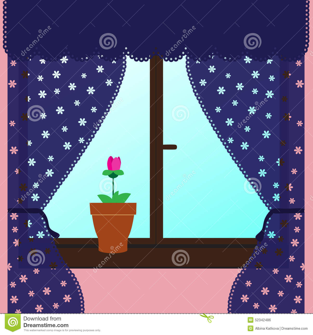 Window with curtains. stock vector. Illustration of background ... for Window With Curtains Illustration  585hul