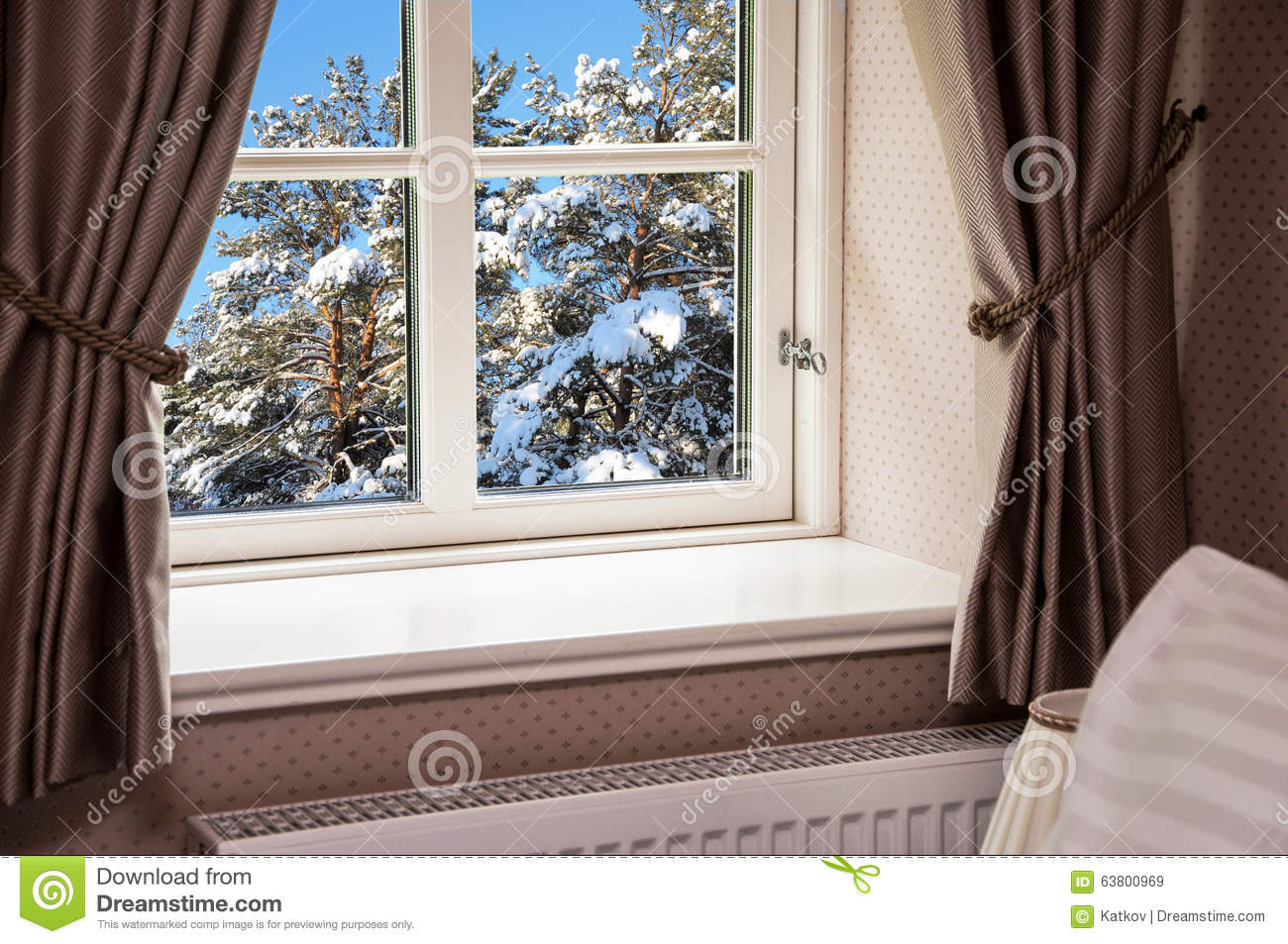 Window With Curtains In Winter Stock Photo Image 63800969