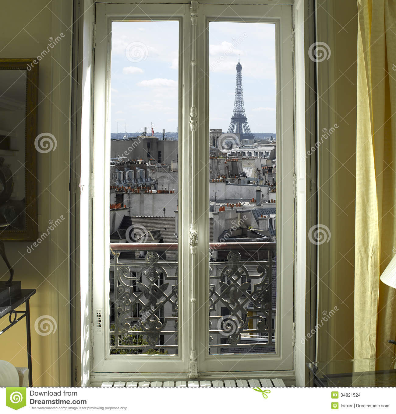 window with eiffel tower in paris stock photo image of eiffel appartment 34821524. Black Bedroom Furniture Sets. Home Design Ideas