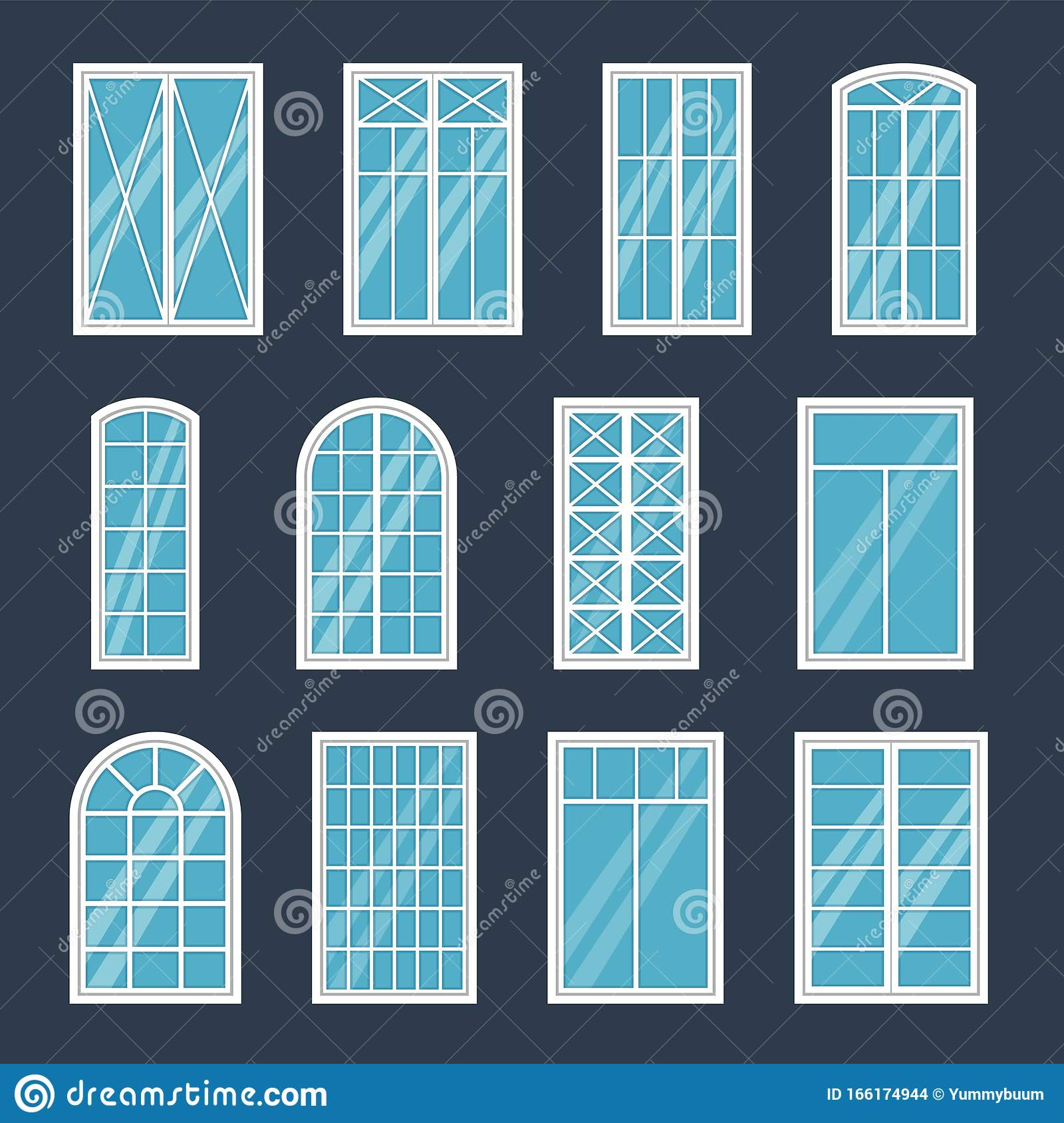Window Exterior Various Glass Windows Frame Types Construction Sashes Design Modern Architecture House Interior Flat Stock Vector Illustration Of Frame Interior 166174944