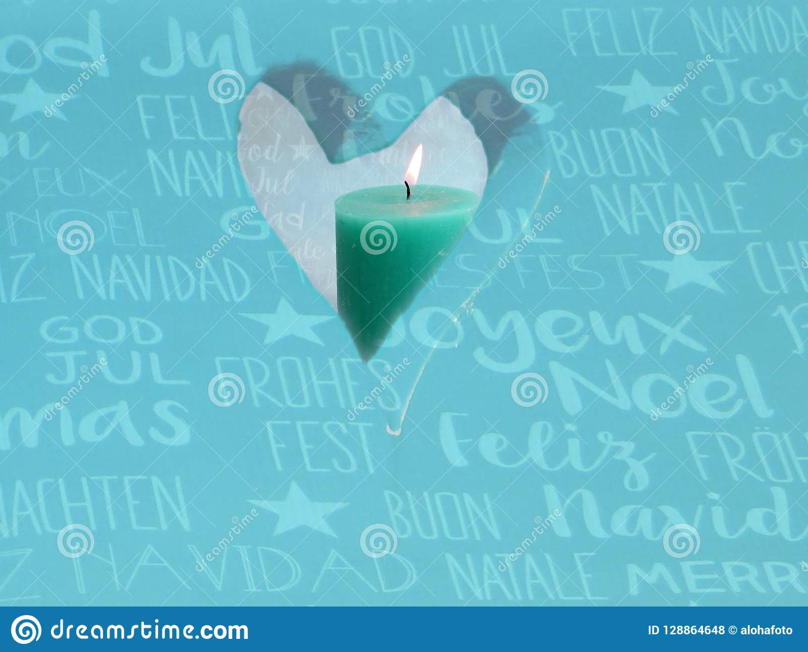Window In The Form A Heart With A Turquoise Candle And An