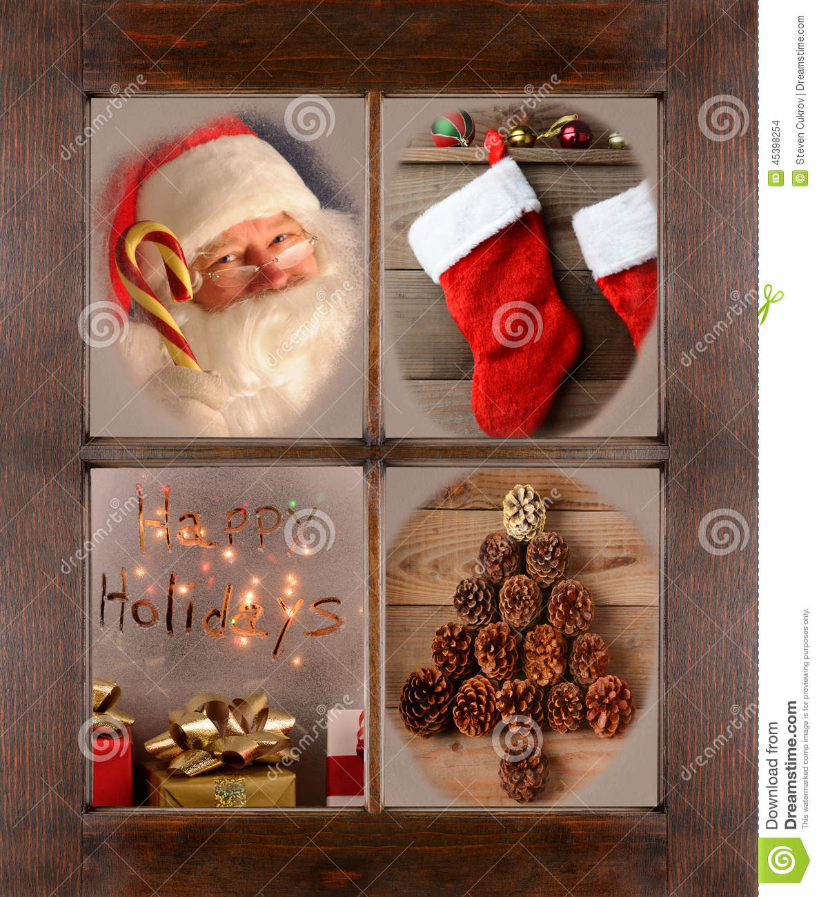 Window With Four Christmas Scenes Stock Photo Image