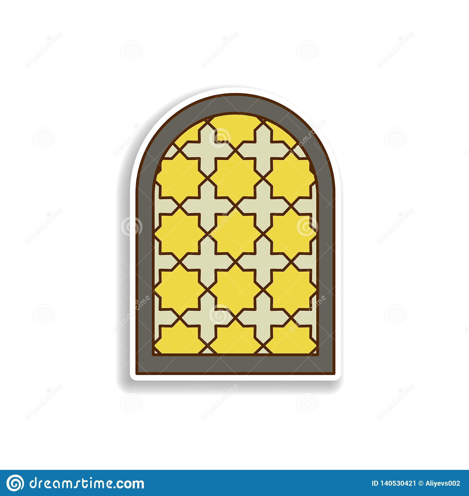 Window Frame Arabic Sticker Icon  Element Of Color Arabic