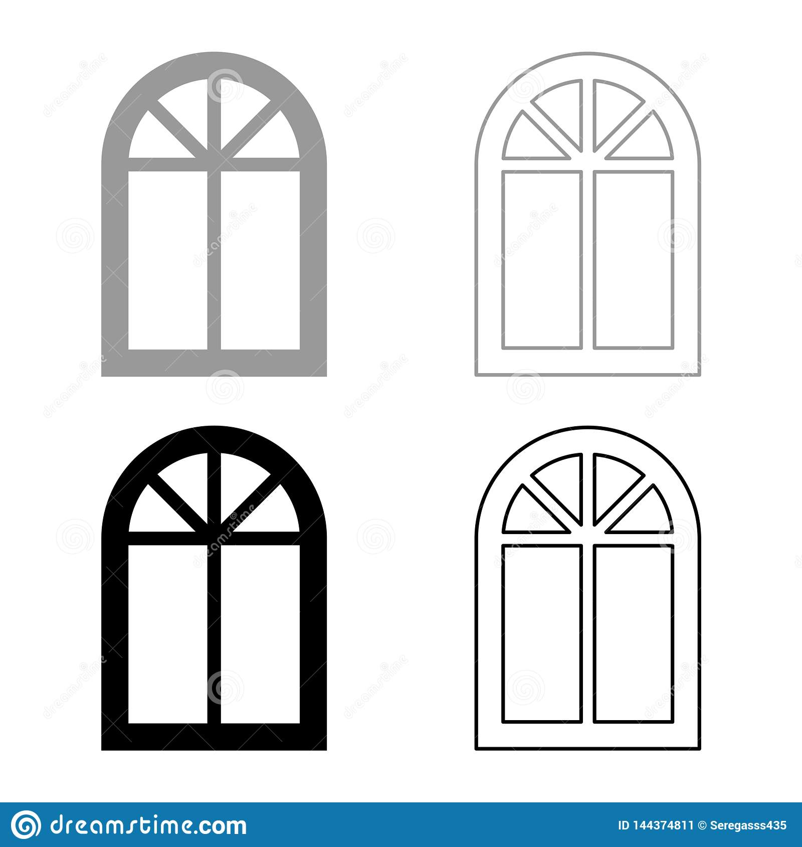 Window frame semi-round at the top Arch window icon set black color vector illustration flat style image