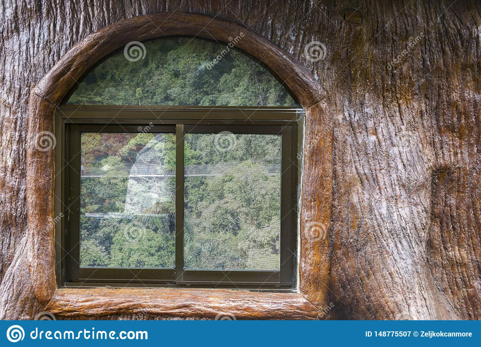 Window Frame Wood Log Cabin Tropical Rainforest Arenal Volcano Costa Rica Stock Image Image Of Facade Americas 148775507