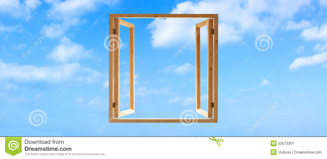 window frame wooden open sky panoramic stock image