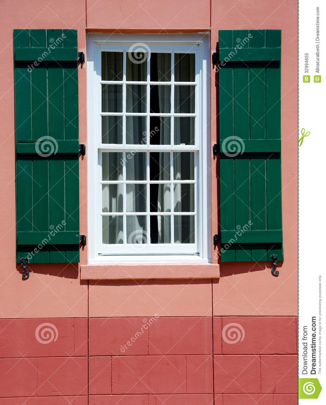 Window And Green Shutters In European Village Royalty Free