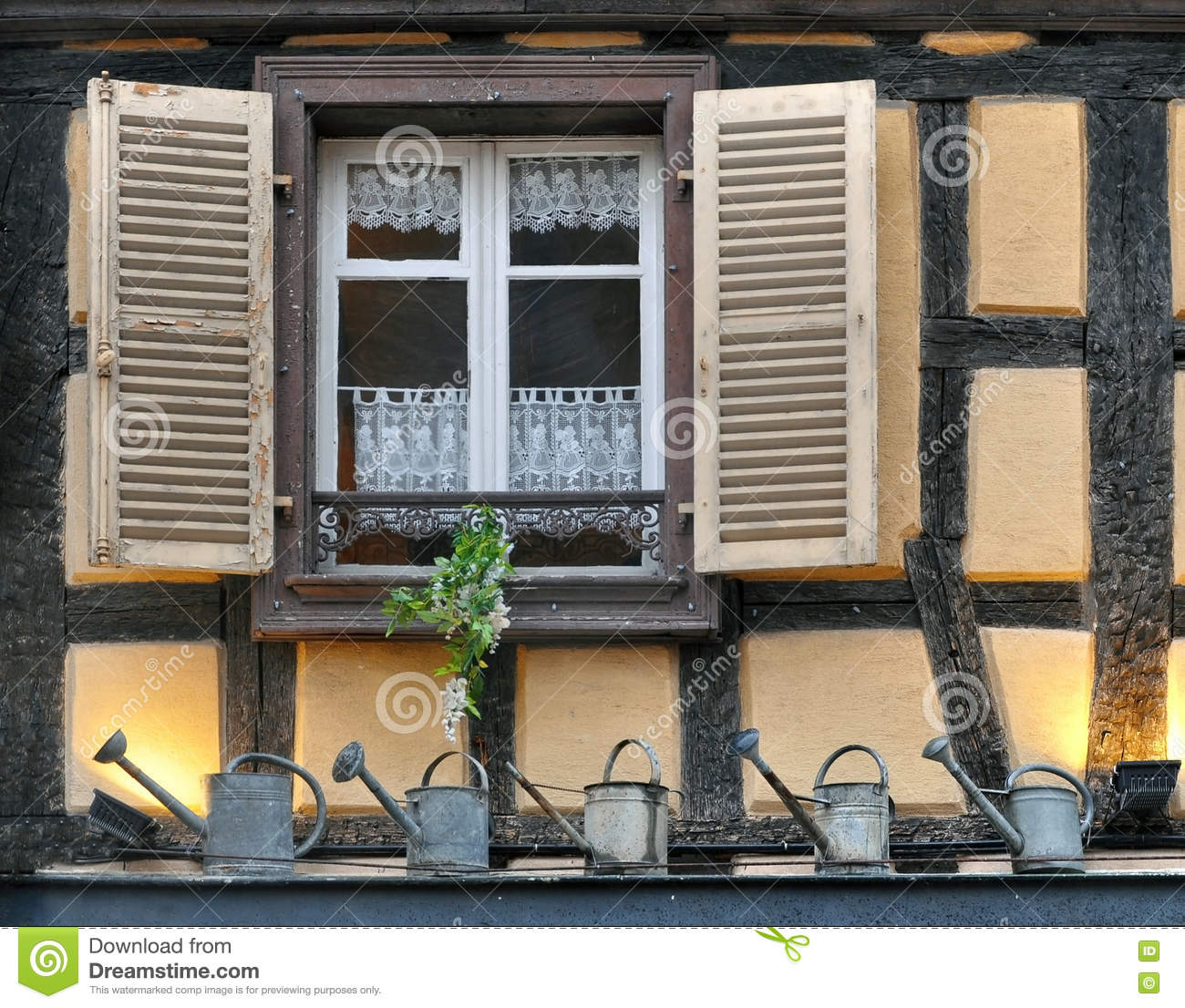 Window Of A Half Timbered House With Open Shutters Stock