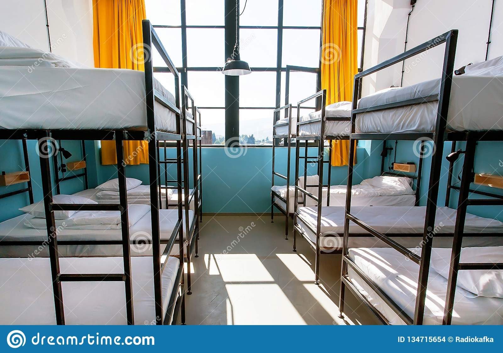 Picture of: Window Of House With Many Bunk Beds Light Bedroom With Clean Sheets Stock Photo Image Of Floor European 134715654