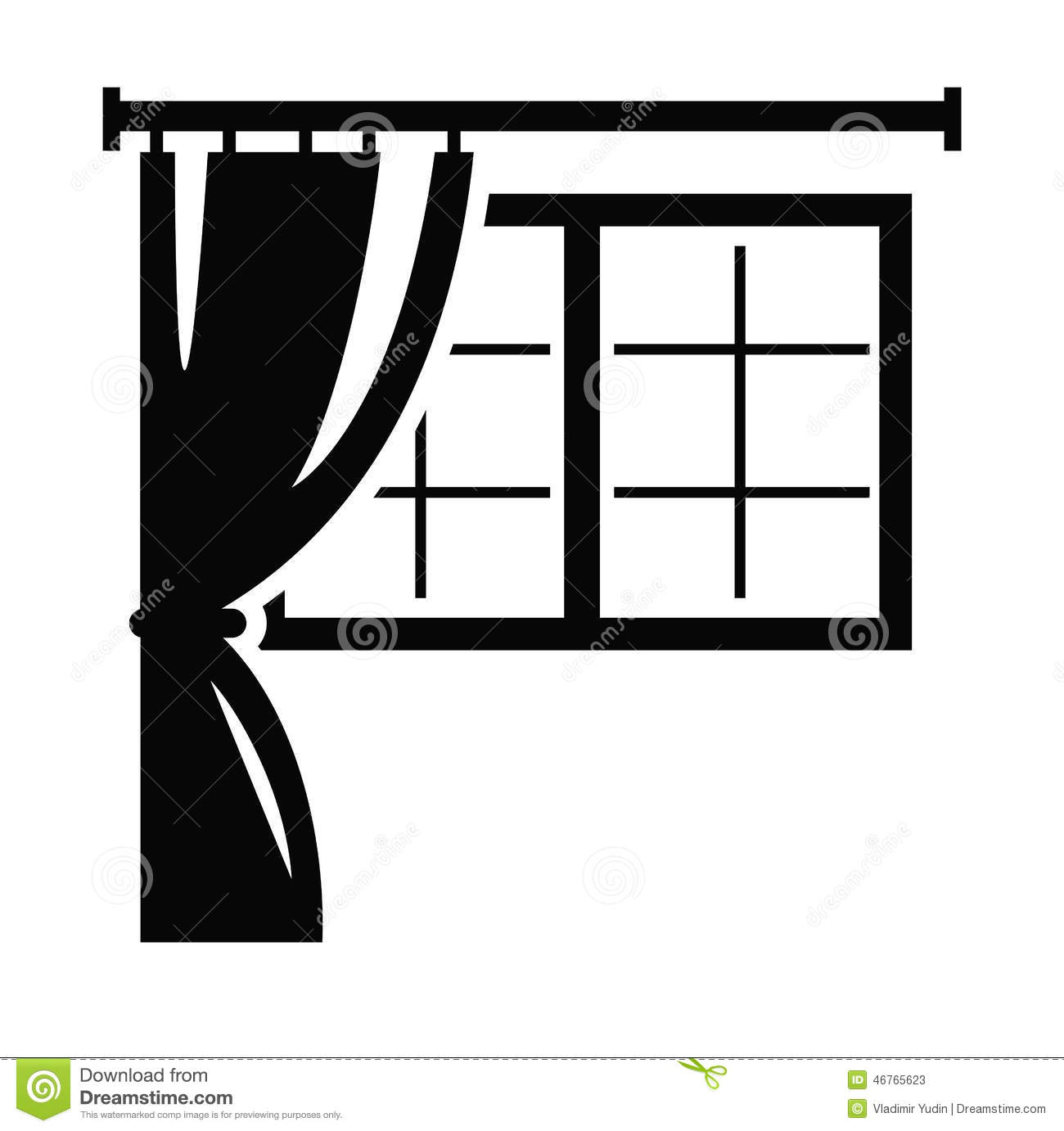 Bathroom clipart black and white - Vector Black Window Icon On White Background