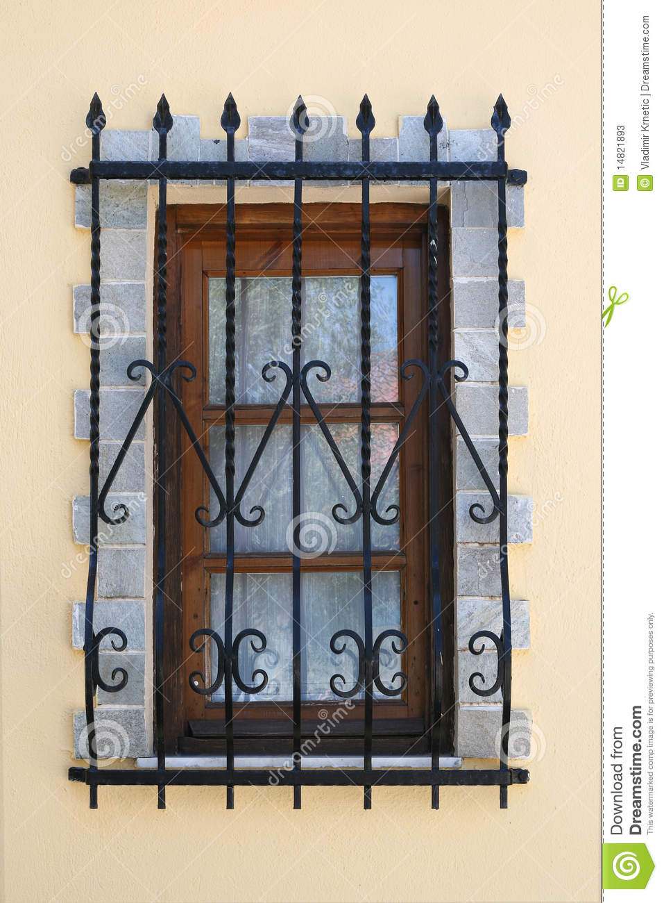 Window With Iron Security Bars Stock Image Image 14821893